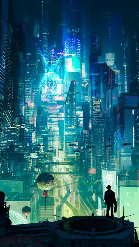 Cyberpunk City Móvil Vertical fondo de escritorio