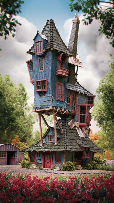Harry Potter - The Burrow, Weasley's family home Móvil Vertical fondo de escritorio
