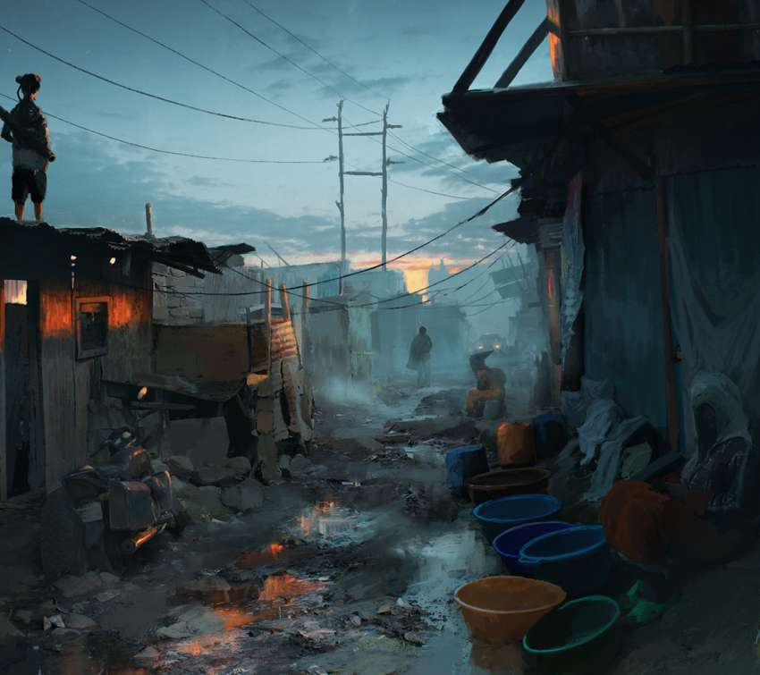 Sunset in the slums Móvil Horizontal fondo de escritorio