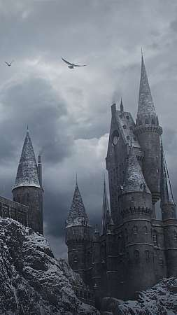 Hogwarts in the Snow Móvil Vertical fondo de escritorio