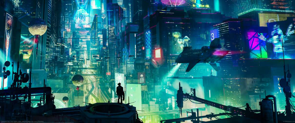 Cyberpunk City ultra ancha fondo de escritorio